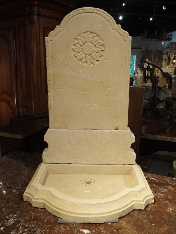 Hand-Carved Small Carved Limestone Wall Fountain from Italy For Sale