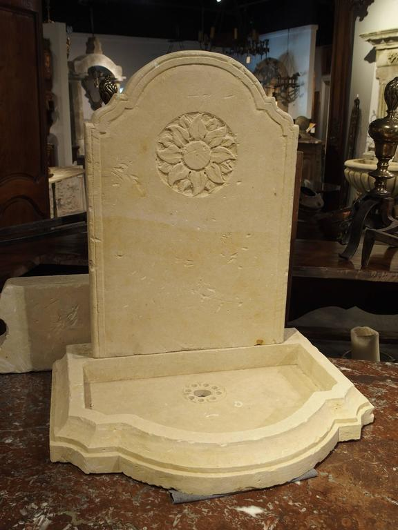 Contemporary Small Carved Limestone Wall Fountain from Italy For Sale
