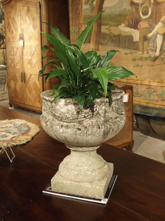Vintage Cast Stone Drapery Swag Planter From Belgium For
