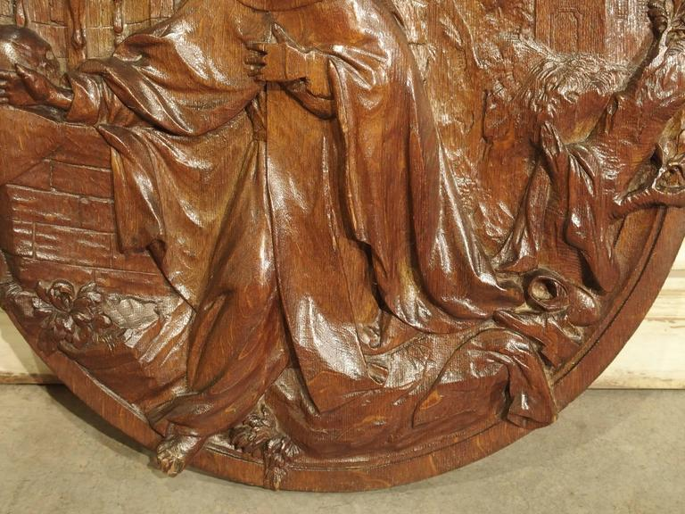 Carved 18th Century Oval Wooden Religious Plaque from France In Good Condition For Sale In Dallas, TX