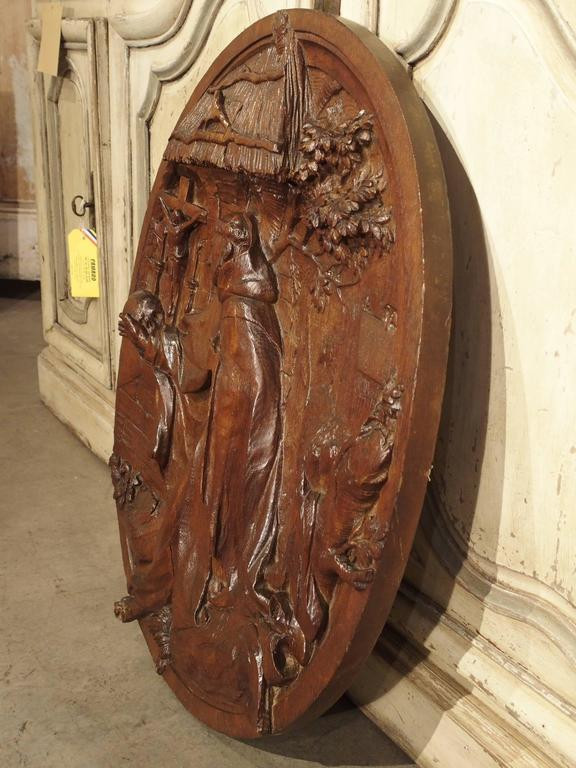 18th Century and Earlier Carved 18th Century Oval Wooden Religious Plaque from France For Sale