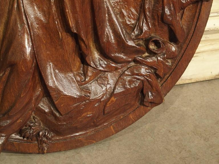 Oak Carved 18th Century Oval Wooden Religious Plaque from France For Sale