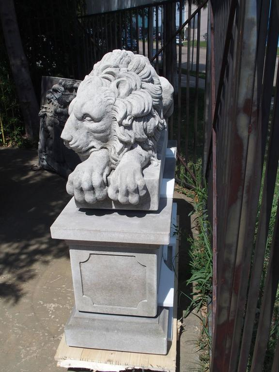 "Pair of Large Carved Stone Lions on Pedestals, ""The Sleeping and The Vigilant"" 3"