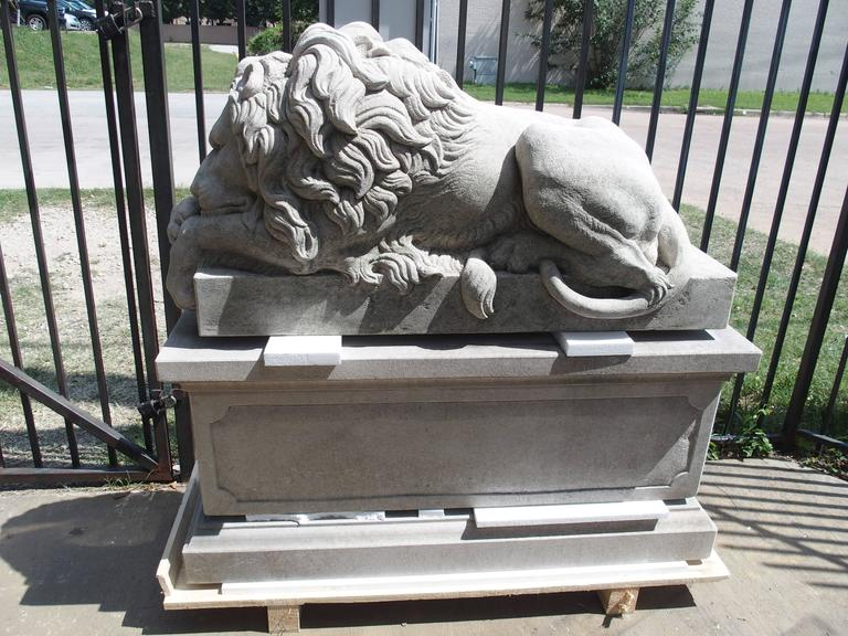 "Pair of Large Carved Stone Lions on Pedestals, ""The Sleeping and The Vigilant"" 4"