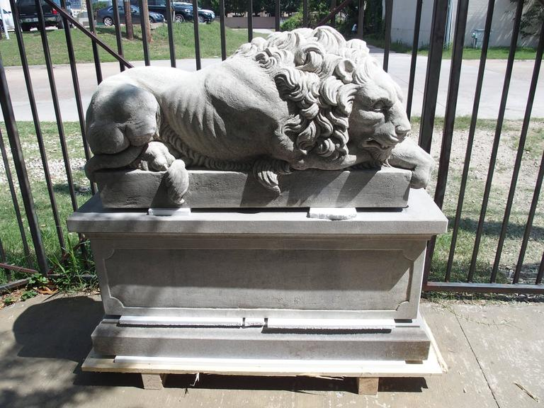 "Pair of Large Carved Stone Lions on Pedestals, ""The Sleeping and The Vigilant"" 6"