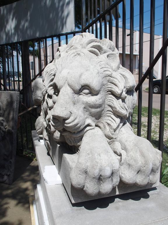 "Pair of Large Carved Stone Lions on Pedestals, ""The Sleeping and The Vigilant"" 7"