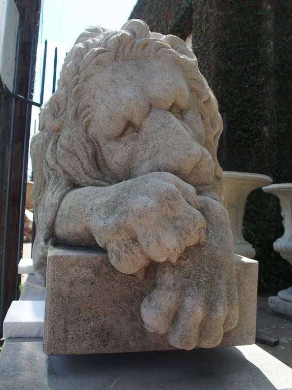 "Pair of Large Carved Stone Lions on Pedestals, ""The Sleeping and The Vigilant"" 8"