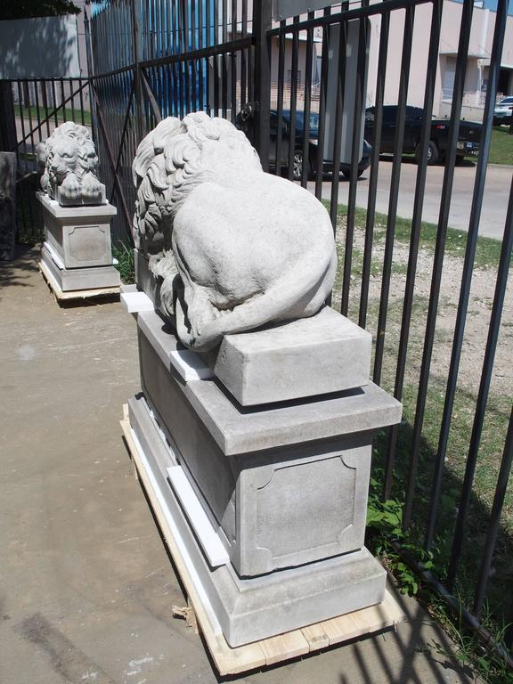 "Pair of Large Carved Stone Lions on Pedestals, ""The Sleeping and The Vigilant"" 9"