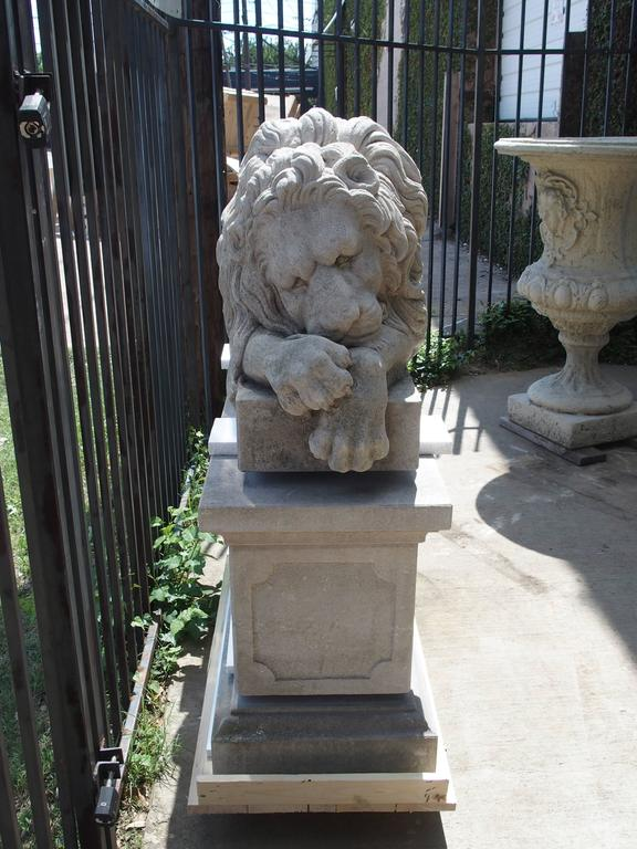 "Pair of Large Carved Stone Lions on Pedestals, ""The Sleeping and The Vigilant"" 10"