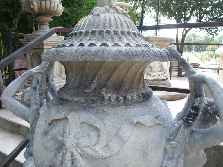 Stunning Pair of Cast Grey Stone Urns from the Margam Park Originals 3
