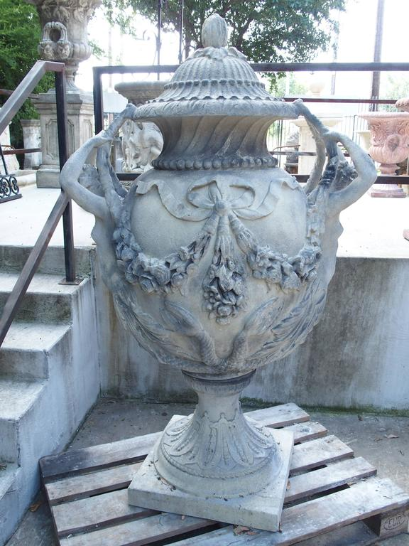 Stunning Pair of Cast Grey Stone Urns from the Margam Park Originals 5