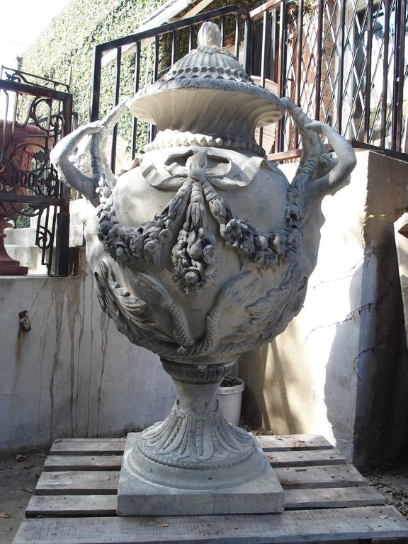 Stunning Pair of Cast Grey Stone Urns from the Margam Park Originals 9