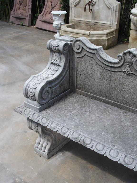 Italian Carved Limestone Garden Bench from Northern Italy For Sale