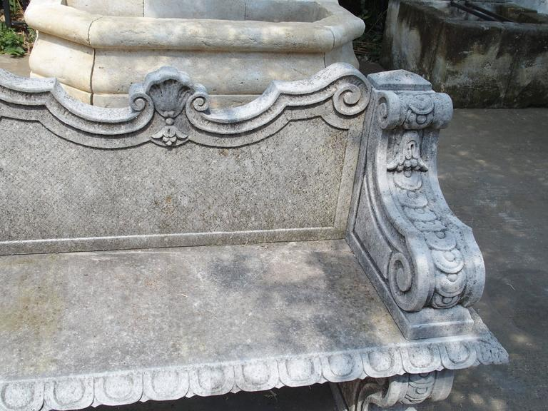 Contemporary Carved Limestone Garden Bench from Northern Italy For Sale