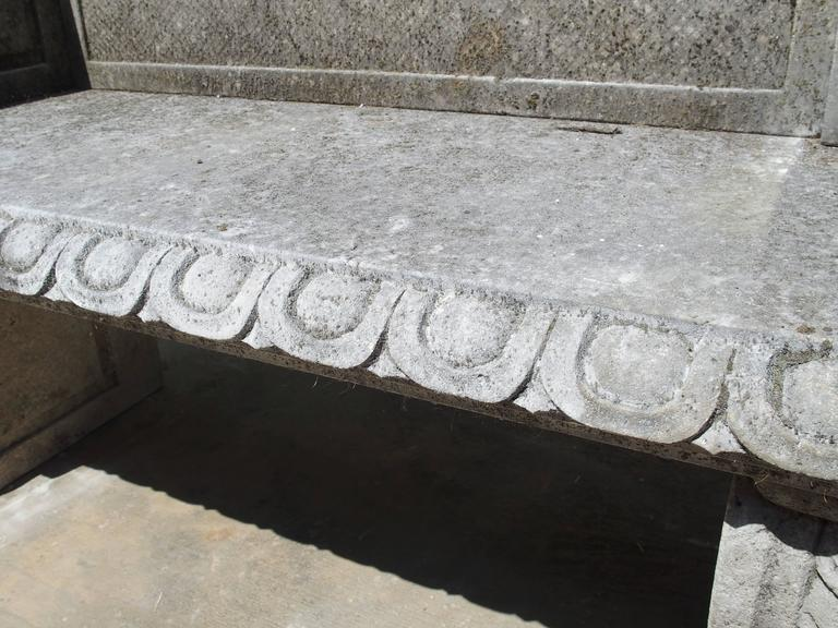 Carved Limestone Garden Bench from Northern Italy For Sale 4