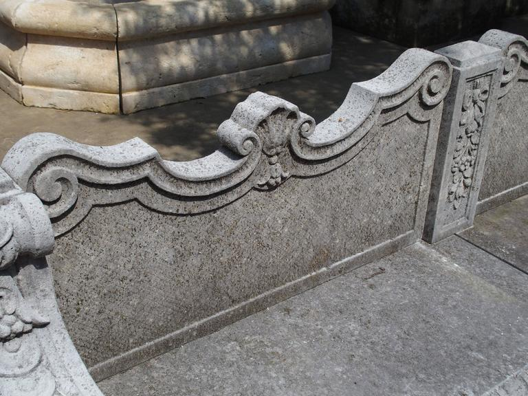 Carved Limestone Garden Bench from Northern Italy For Sale 5