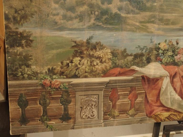 Late 19th Century Large Antique Boiserie Painting, Chateau Chambord, Germain Detanger 1893 For Sale