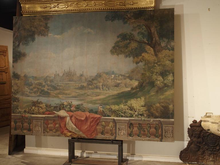 Large Antique Boiserie Painting, Chateau Chambord, Germain Detanger 1893 For Sale 2