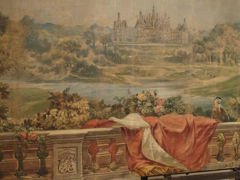 Large Antique Boiserie Painting, Chateau Chambord, Germain Detanger 1893 For Sale 3