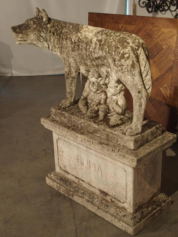Antique Capitoline Wolf of Rome, Carved Pietra Di Vicenza Stone, circa 1910 2