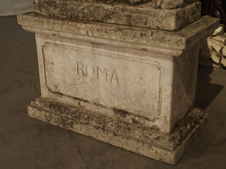 Antique Capitoline Wolf of Rome, Carved Pietra Di Vicenza Stone, circa 1910 5