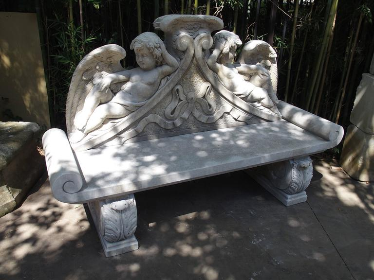 Italian Winged Cherubs Carved Limestone Garden Bench from Italy For Sale