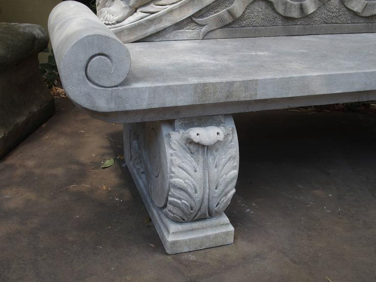 Winged Cherubs Carved Limestone Garden Bench from Italy For Sale 1