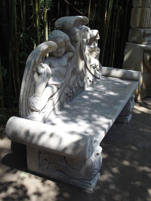 Winged Cherubs Carved Limestone Garden Bench from Italy For Sale 2
