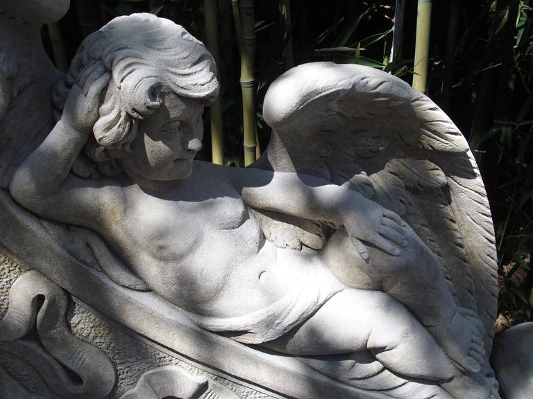 Winged Cherubs Carved Limestone Garden Bench from Italy For Sale 4