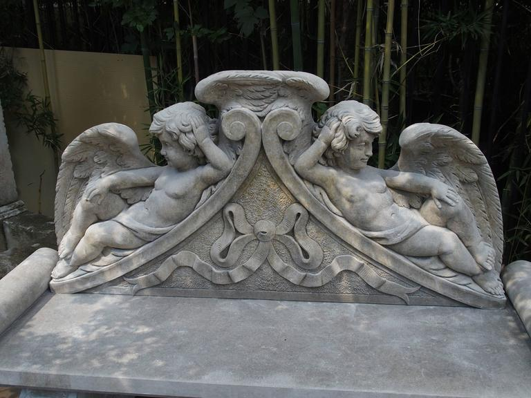Winged Cherubs Carved Limestone Garden Bench from Italy For Sale 5