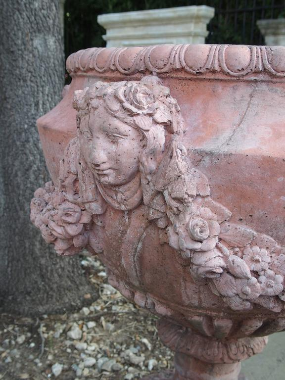 Pair of French Terra Cotta Colored Cast Stone Urns 9