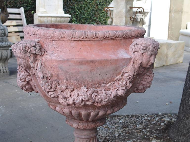 Pair of French Terra Cotta Colored Cast Stone Urns 10