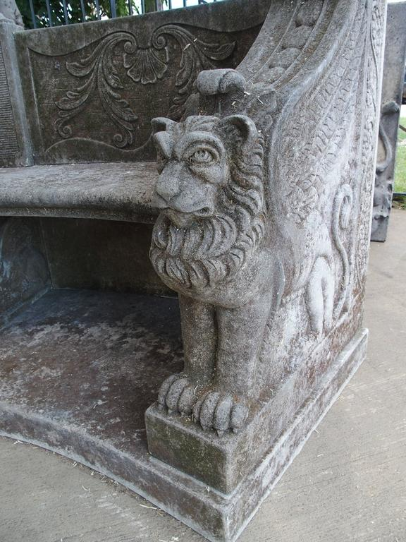 Hand-Carved Large Semi Circular Carved Limestone Griffins Bench For Sale