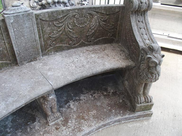 Large Semi Circular Carved Limestone Griffins Bench In Excellent Condition For Sale In Dallas, TX