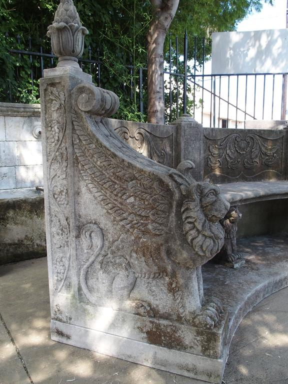 Large Semi Circular Carved Limestone Griffins Bench For Sale 3