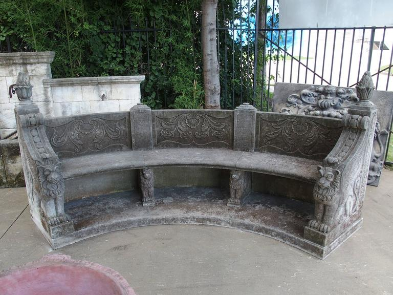 Large Semi Circular Carved Limestone Griffins Bench For Sale 4