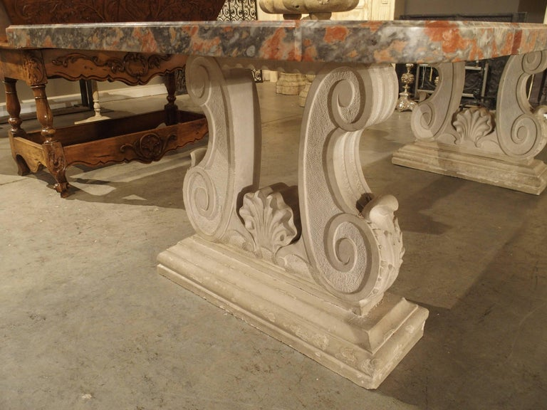 Rouge De Languedoc Marble And Carved Stone Dining Table