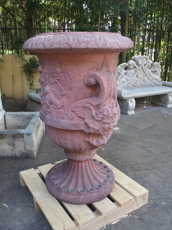 Louis XV Pair of Large French Terra Cotta Colored Cast Stone Urns For Sale