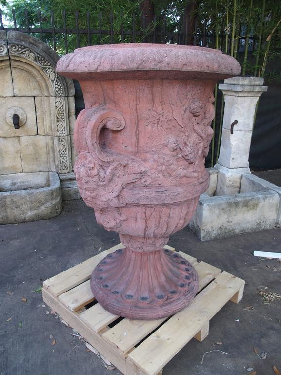 Pair of Large French Terra Cotta Colored Cast Stone Urns For Sale 2