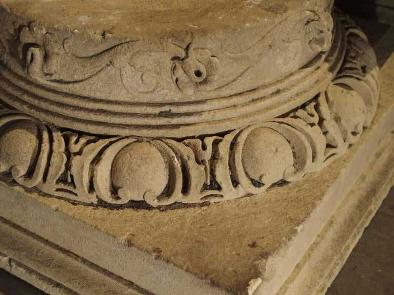 Hand-Carved Set of Three Carved Stone Capitals from France, Near Beauvais, Early 1800s For Sale
