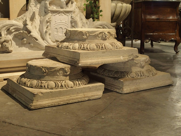 Set of Three Carved Stone Capitals from France, Near Beauvais, Early 1800s In Distressed Condition For Sale In Dallas, TX
