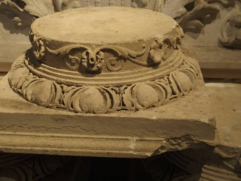 19th Century Set of Three Carved Stone Capitals from France, Near Beauvais, Early 1800s For Sale