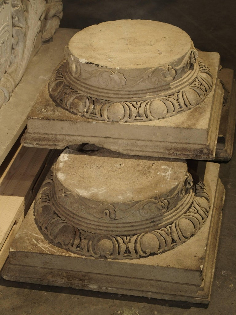 Set of Three Carved Stone Capitals from France, Near Beauvais, Early 1800s For Sale 1