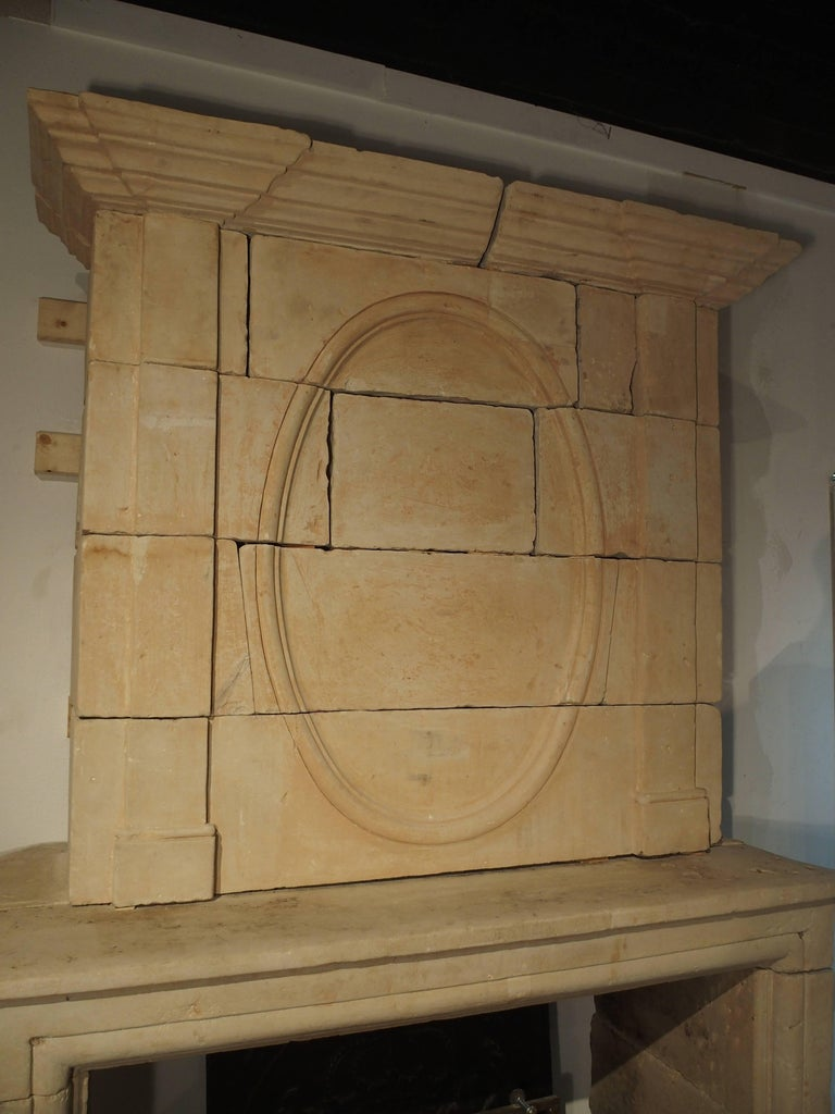 Early 1800s Carved Limestone Trumeau Fireplace Mantel from Loire Valley, France 3