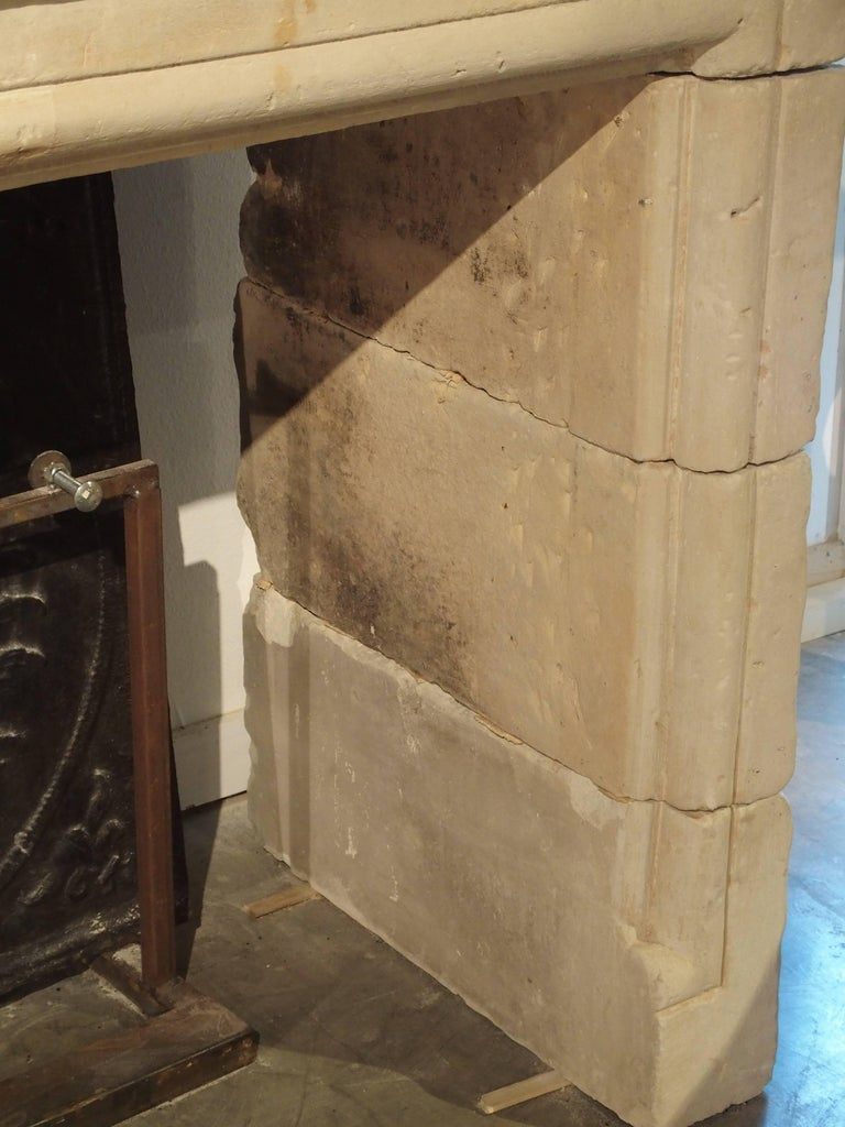 Early 1800s Carved Limestone Trumeau Fireplace Mantel from Loire Valley, France 4