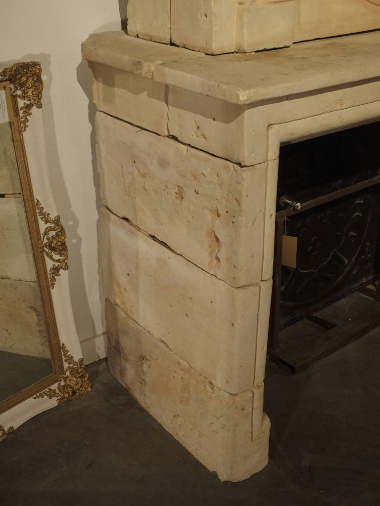 Early 1800s Carved Limestone Trumeau Fireplace Mantel from Loire Valley, France 5