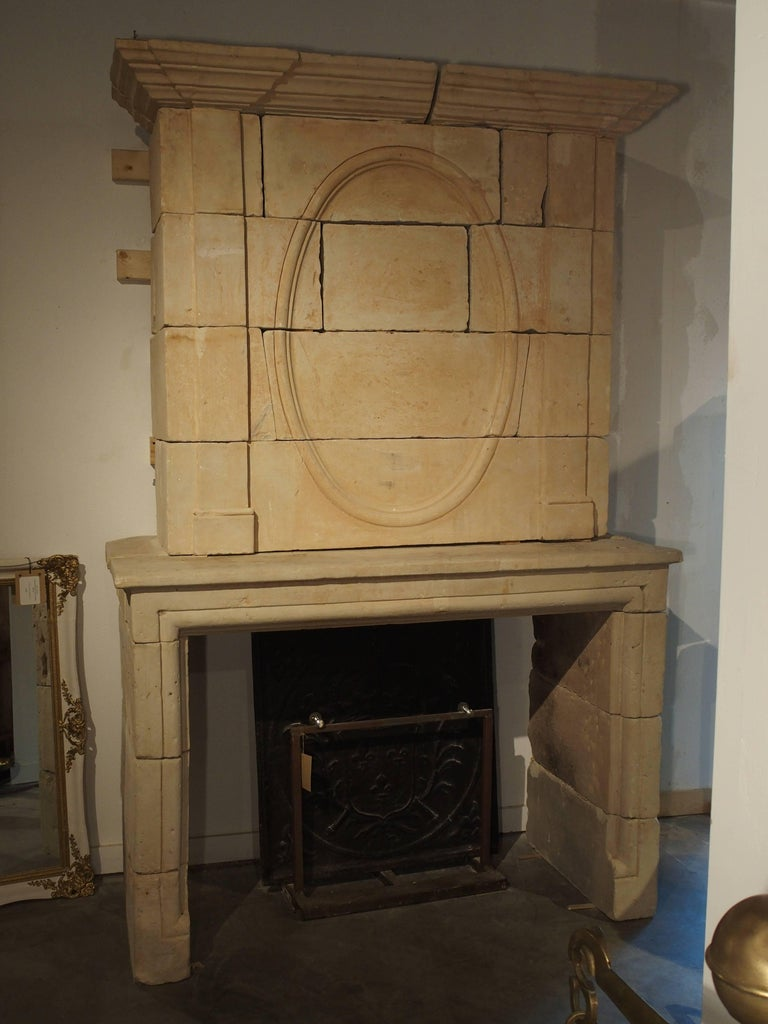 Early 1800s Carved Limestone Trumeau Fireplace Mantel from Loire Valley, France 8