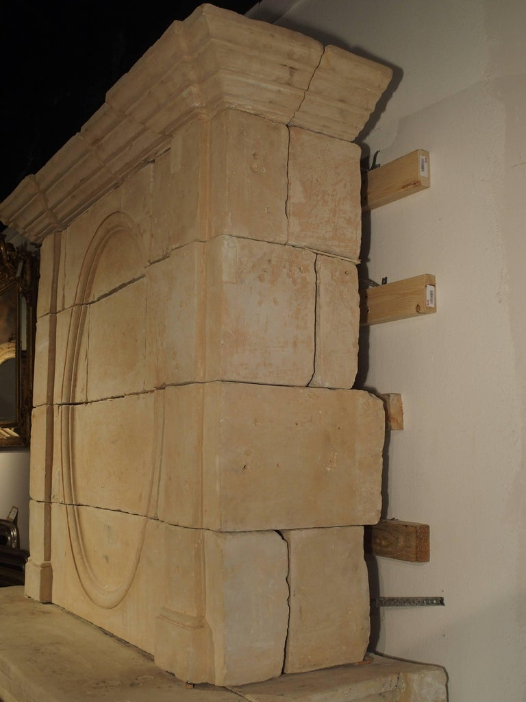Early 1800s Carved Limestone Trumeau Fireplace Mantel from Loire Valley, France 9