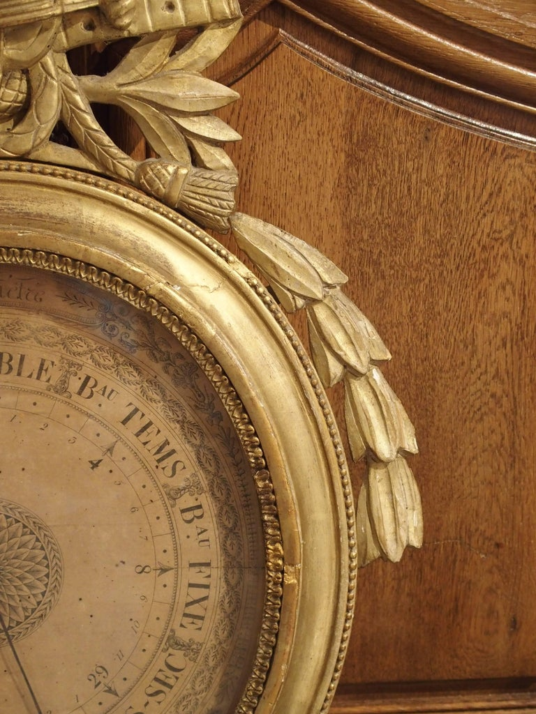 Louis XVI Period Giltwood Barometer from France, 1774-1793 In Good Condition For Sale In Dallas, TX