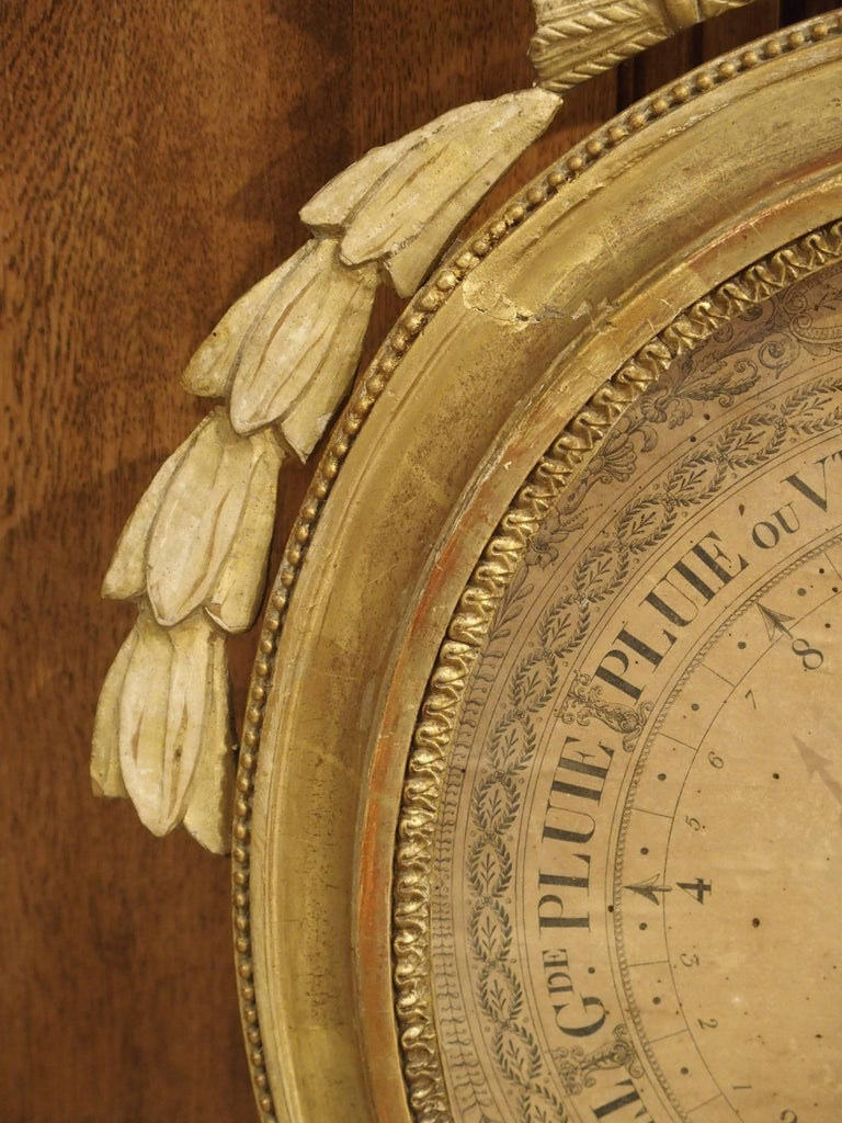 18th Century Louis XVI Period Giltwood Barometer from France, 1774-1793 For Sale